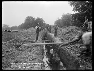 Distribution Department, Low Service Pipe Lines, Section 28, 20-inch pipe near station 33, Mystic Valley Parkway, West Medford, Medford, Mass., May 26, 1899