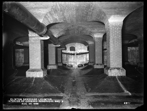 Clinton Sewerage, interior of covered reservoir, Section 2, Clinton, Mass., Aug. 30, 1899