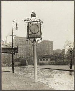 Boston, Massachusetts. Tremont Street. Sidewalk clock of Chickering & Sons