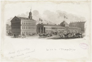 Faneuil Hall and Quincy Market. Market built 1824-6 by Alexander Parris