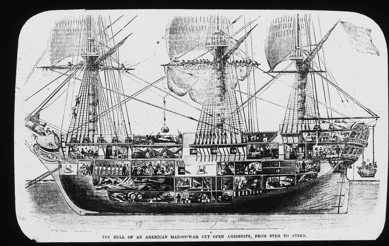 Hull of an American man-of-war cut open amidships from stem to stern