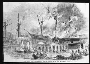 "Fire at Charlestown, and burning of the ship ""Bell Rock"""