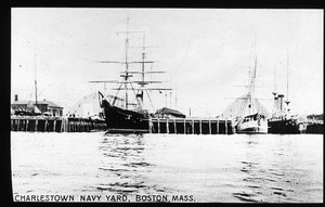 Charlestown Navy Yard with two square rigged ships and one steamship