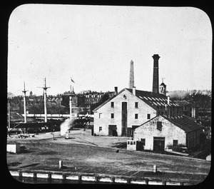 View in Navy Yard, showing Bunker Hill Monument and the training ship, the U.S.S. Wabash