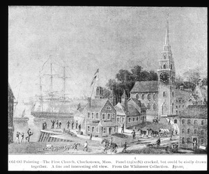 Old oil painting of First Church, Charlestown