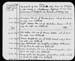 Part of page 201 in parish register of First Church in Charlestown