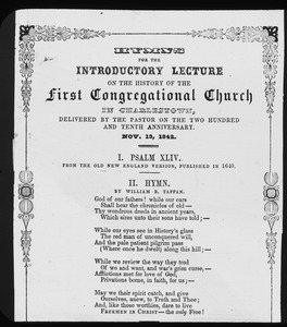 Hymn sheet for lecture at 210th anniversary of First Congregational Church, November 13, 1842