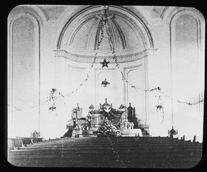 Interior of Universalist Church at an early date