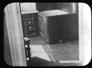 Black walnut and painted zinc bathtub in Abram Cutter House