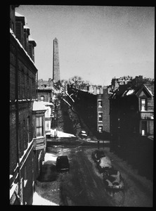 Monument Avenue from elevated train on Main Street in Winter. December 1954