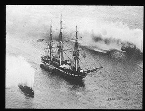 U.S.F. Constitution saluted by two Boston fire boats on her return from the Pacific in 1934.