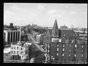 Hayes Square and length of Bunker Hill Street as seen from Mystic Bridge. Feb. 1950.
