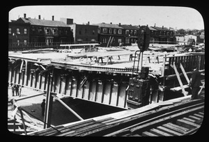 Collapsed overpass beside Sullivan Square El station, May 22, 1952.