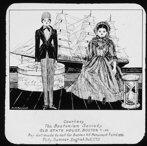 Sketch of two historic dolls