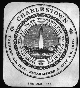 City seal of 1847 showing Bunker Hill Monument on an imagined square