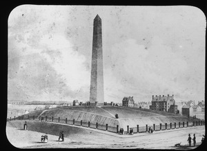 Bunker Hill Monument and three brick residences
