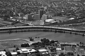 Boston University field & West Campus from Cambridge (aerial), Allston