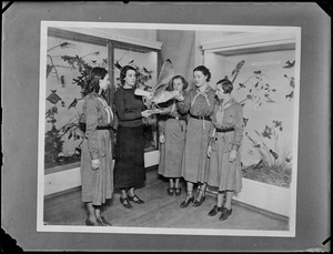 Seymour and Girl Scouts in Bird Room