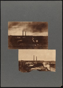 Two images of New Bedford Rayon Co. plant during lightning storm