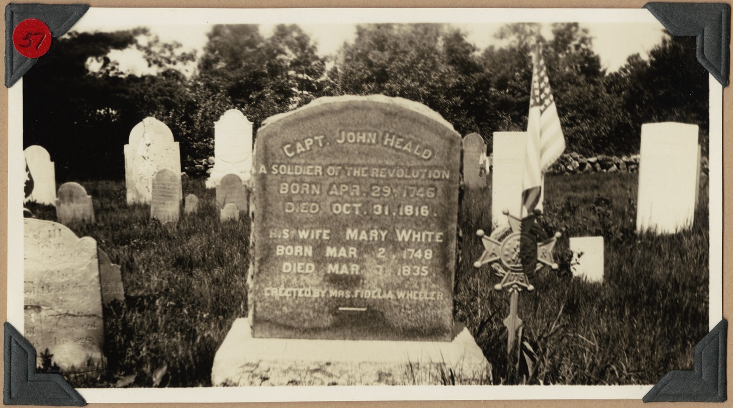 Grave of Capt. John 6 and Mary (White) Heald