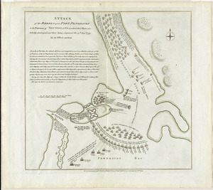 Attack of the rebels upon Fort Penobscot in the province of New England in which their fleet was totally destroyed and their Army dispersed the 14th Augst. 1779