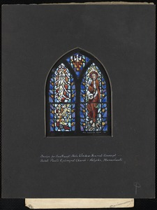Design for southwest aisle window nearest transept, Saint Paul's Episcopal Church, Holyoke, Massachusetts