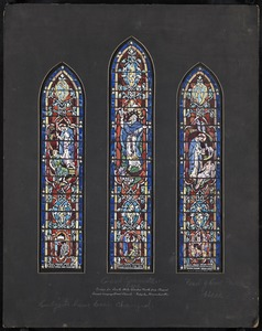 Design for south aisle window fourth from chancel, Second Congregational Church, Holyoke, Massachusetts
