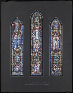 Design for north aisle window nearest the chancel, Second Congregational Church, Holyoke, Massachsuetts
