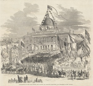 Appearance of the State House and vicinity at Kossuth's reception and welcome to the capitol