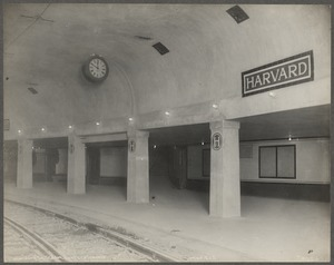 Boston Elevated Railroad. Harvard Square Station. Surface tracks