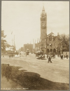 Boston & Providence Railway depot. Horse-drawn cars. Early electric trolley cars