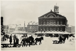 "Horse pulled sleds in front of Faneuil Hall after 13"" snowfall"