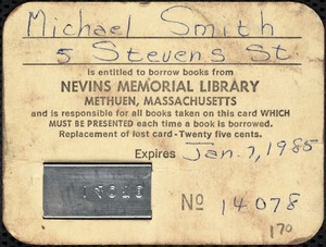 Two patron borrowing cards to Nevins Memorial Library