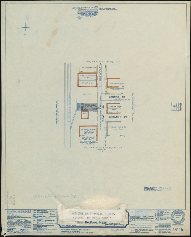 """National Dairy Products Corp. """"General Ice Cream Corp.,"""" New Bedford, Mass. [insurance map]"""