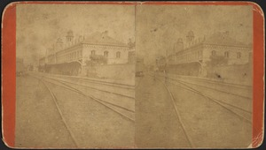 View of train tracks and train station