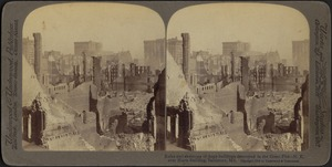 Ruins and skeletons of huge buildings destroyed in the great fire -- N.E. over Hurst Building, Baltimore, Md.