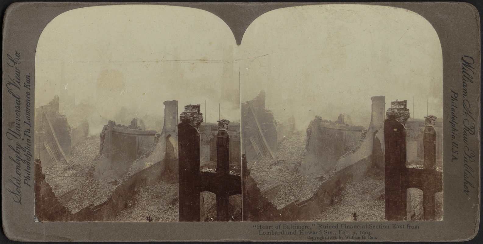 """""""Heart of Baltimore,"""" ruined financial section east from Lombard and Howard Sts., Feb. 7, 1904"""