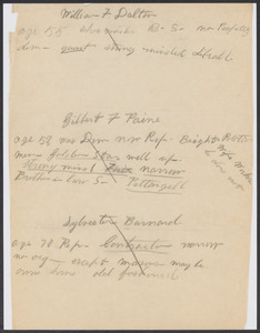 Sacco-Vanzetti Case Records, 1920-1928. Defense Papers. Notes re: prospective jurors (handwritten), n.d. Box 4, Folder 1, Harvard Law School Library, Historical & Special Collections