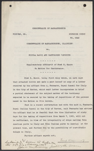 Sacco-Vanzetti Case Records, 1920-1928. Defense Papers. Supplementary Affidavit of Fred H. Moore on Motion for Continuance, February 20, 1921. Box 4, Folder 36, Harvard Law School Library, Historical & Special Collections