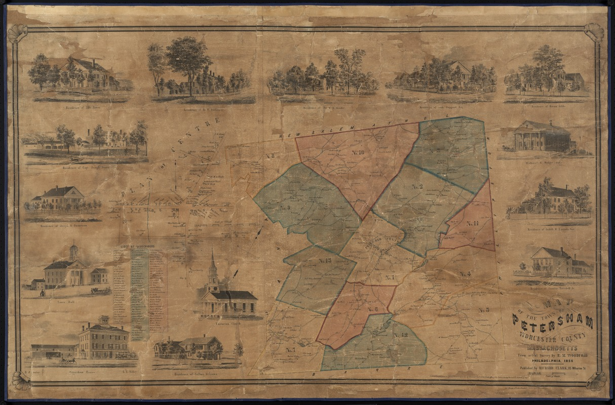 Map of the town of Petersham, Worcester County, Massachusetts