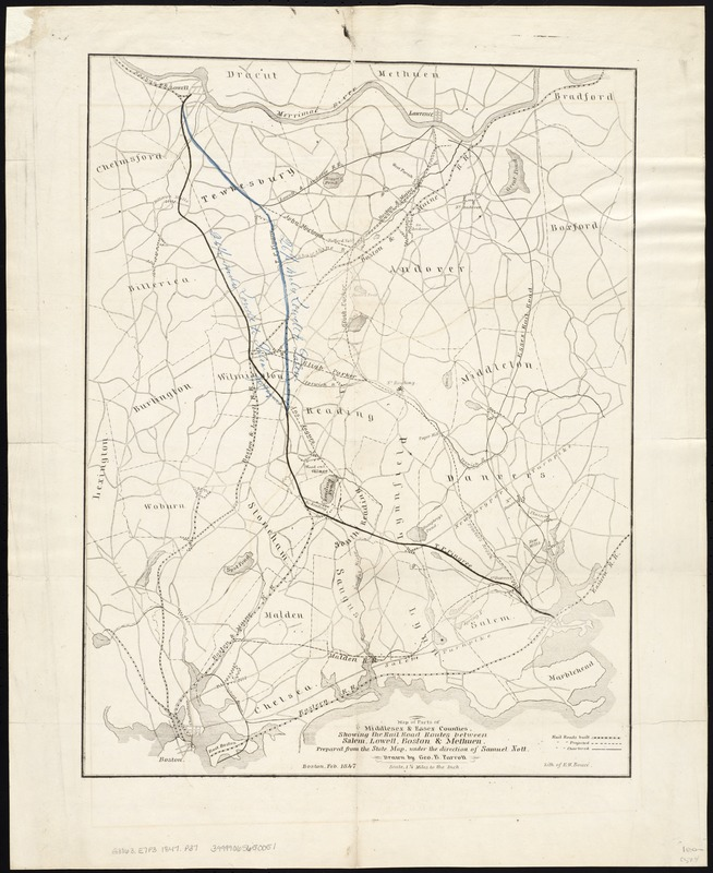 Map of parts of Middlesex & Essex counties, showing the rail road routes between Salem, Lowell, Boston & Methuen