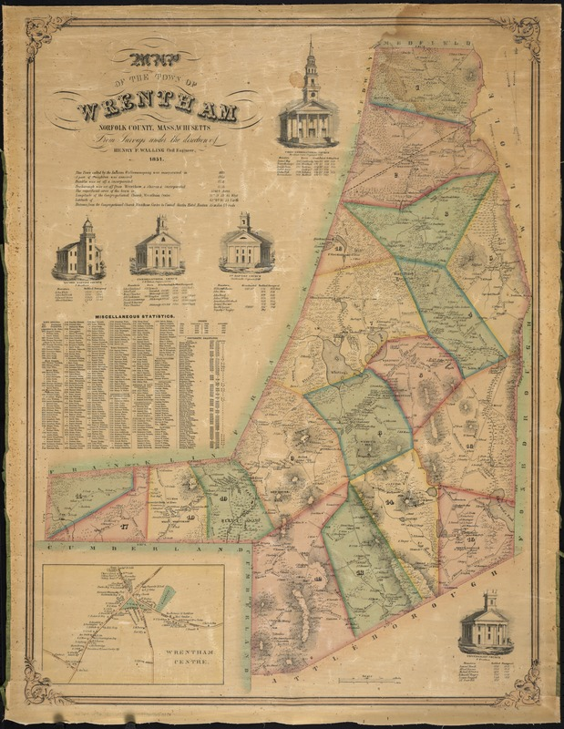 Map of the town of Wrentham