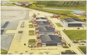 Marine Corps Air Station, showing hangars and planes in line, Marine Corps Schools, Quantico, Va.