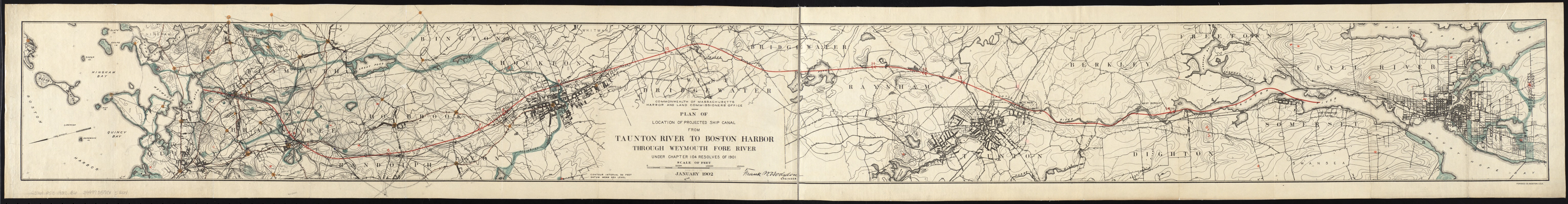 Plan of location of projected ship canal from Taunton River to Boston Harbor, through Weymouth Fore River ... Frank W. Hodgdon, engineer