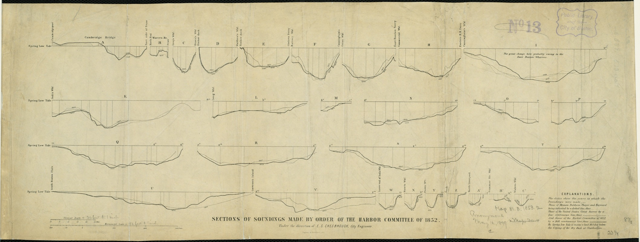 Sections of soundings made by order of the Harbor Committee of 1852