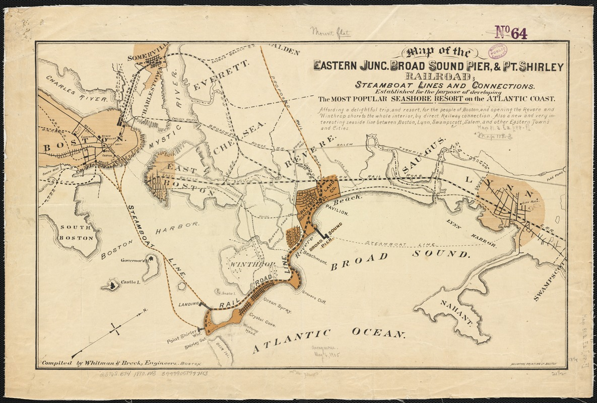 Map of the eastern junc. Broad Sound Pier, & Pt. Shirley railroad