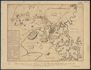 A plan of the town and harbour of Boston, and the country adjacent with the road from Boston to Concord shewing the place of the late engagement between the King's troops & the provincials, together with the several encampments of both armies in & about Boston