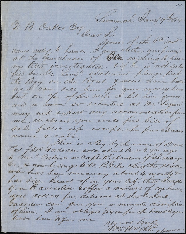 William Wright, Savannah, Ga., manuscript letter signed to Ziba B. Oakes, 9 January 1854