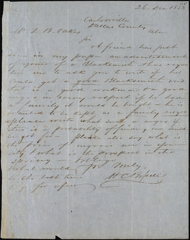 H.C. Bissell, Carlowville, Dallas Co., Ala., autograph letter signed to Ziba B. Oakes, 26 December 1853