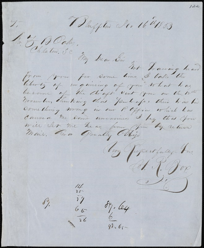 H.R. Box, Bluffton, S.C., autograph letter signed to Ziba B. Oakes, 16 December 1853